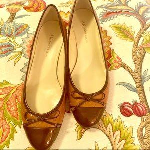 Anne Klein quilted leather kitten heel pumps
